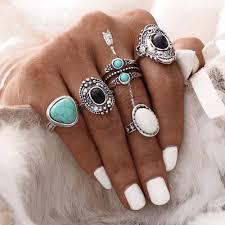 <b>5 pcs</b>/<b>Set</b> Bohemian Vintage <b>Punk</b> Antique Flower Midi Finger Rings ...
