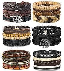 LOLIAS 4-24 Pcs Woven <b>Leather Bracelet</b> for Men <b>Women Cool</b>