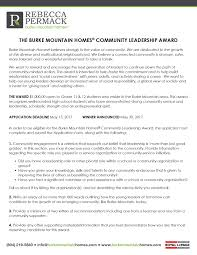 burke mountain homes reg community leadership award burke mountain homesreg leadership award