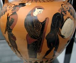 sisyphus systematic wonder persephone supervising sisyphus pushing his rock in the underworld side a of an attic black