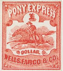 「1860, the Pony Express, which delivers mail by horse and rider relay teams, makes its debut.」の画像検索結果
