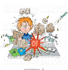 royalty chemistry stock designs shocked school girl conducting a chemistry experiment while her test chemicals explode