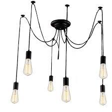 lemonbest 6 head e27 vintage diy ceiling chandelier light fixtures antique adjustable flush mount pendant adjustable lighting fixtures