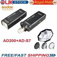 UK <b>Godox AD200 TTL</b> HSS <b>2.4G</b> 1/8000 Pocket Double Head ...