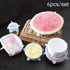 <b>6 Pcs</b>/<b>Set</b> Reusable Silicone Food Wrap Stretch Vacuum Seal Cover ...