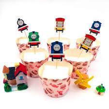 <b>24pcs</b>/<b>set Thomas train Cupcake</b> Topper Toothpick Party Supplies ...