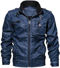 HHGKED Men's Bomber <b>Leather</b> Jacket Vintage <b>Stand Collar</b> ...
