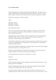 basic cover letter for a resume com cv cover letters