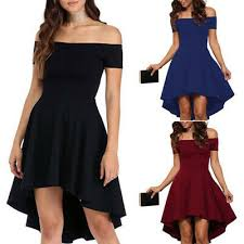 <b>Sexy Women</b> High Low Off-Shoulder Dress <b>Fashion Summer</b> Short ...