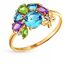 Золотое <b>кольцо</b> с <b>хризолитом</b>, <b>аметистом</b>, <b>топазами</b> и ...
