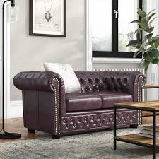High End Chesterfield Sofa Curved Arms Tufted 2/3-Seater <b>Artificial</b> ...