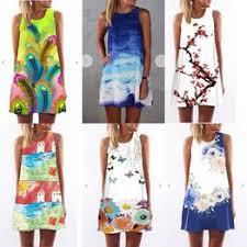 Women Digital Printing Round Neck Sleeveless Sundress ... - Vova