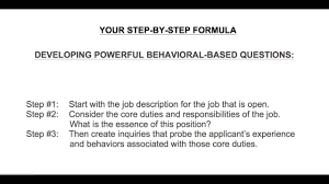 steps to developing powerful behavioral based questions 3 steps to developing powerful behavioral based questions