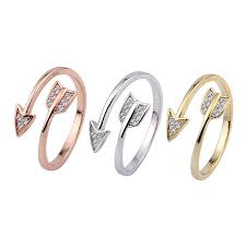 New LNRRABC <b>Fashion Stainless Steel Arrow</b> Crystal Open Rings ...