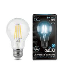 Лампочка 102802206 <b>Лампа Gauss LED Filament</b> A60 E27 6W ...