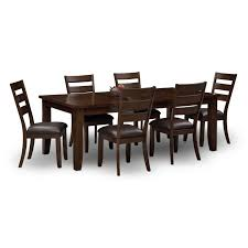 seven piece dining set: abaco table and  chairs brown