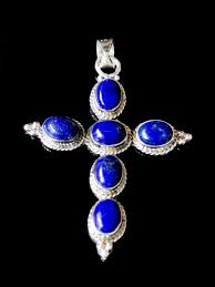 Elegant <b>Cross shaped</b> lapis lazuli <b>pendant</b> in 925 sterling silver | gem