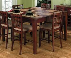 Travertine Dining Room Table Wooden Brown Furniture Set With Dining Room Set Counter Table And