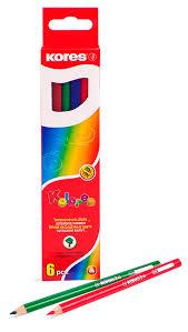<b>цветные карандаши 6</b> цветов. <b>KORES</b> Трехгранные 153053 ...