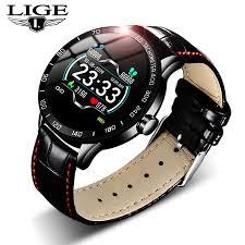 <b>LIGE 2019 New</b> leather smart watch men leather smart watch sport ...