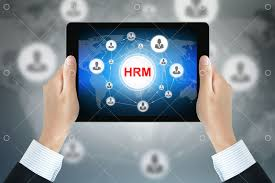 HRM (or Human Resources Management) sign on <b>tablet pc screen</b> ...