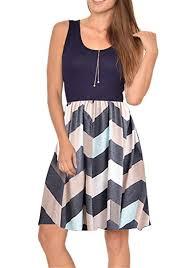 Poulax <b>Women</b> Casual <b>Sleeveless Striped</b> Print Swing Mini T Shirt ...