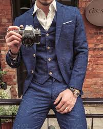 <b>2019 Blue Men's</b> Plaid Formal Business Suit 3 Piece (<b>jacket</b> +<b>vest</b> + ...