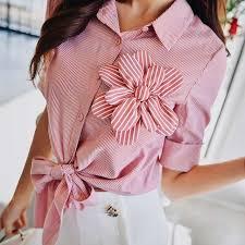<b>Dabuwawa Summer Pink</b> Bow Striped Blouse For Girls Women ...
