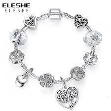 ELESHE <b>Luxury</b> Silver Vintage Tree of Love Heart <b>Crystal Charm</b> ...