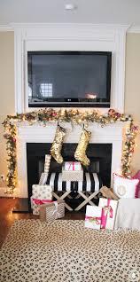 decor creative pink christmas decorations holiday home tour fire place mantel decor garland christmas decor gift