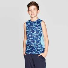 <b>Boys Camo</b> Print Sleeveless <b>T</b> Shirt C9 Champion Blue XL