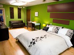 charming natural green and brown bedroom color decoration combined with bright white bedcover with attractive black flower design on laminated wooden floor charming white green wood unique design simple