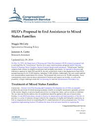 HUD's Proposal to End Assistance to <b>Mixed</b> Status <b>Families</b> ...