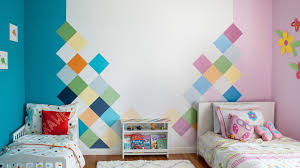 How to <b>paint</b> a geometric colorful accent <b>wall</b> for a <b>Kids room</b> ...