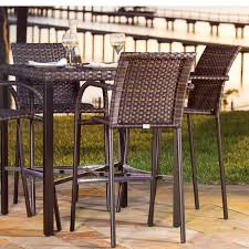 wicker bar height dining table: wicker and aluminum bar height dining set
