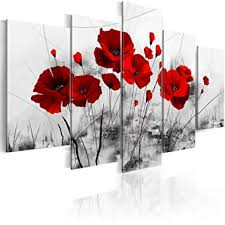 5 Panels Flower Canvas Painting Red Poppies Floral ... - Amazon.com