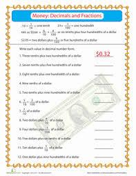Money Practice: Fractions & Decimals   Worksheet   Education.comFourth Grade Fractions Decimals Money Worksheets: Money Practice: Fractions & Decimals