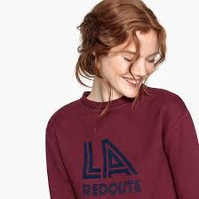 <b>Свитшот</b> велюровый с <b>принтом</b> спереди бордовый <b>La Redoute</b> ...