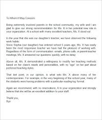 Teacher Recommendation Letter From Parent - My Letter Format ... Sample Letters of Recommendation for Teacher 12+ Documents in Word