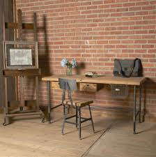 f rustic rectangle reclaimed wood desk with dark grey polished powder coated steel accents legs also black iron office chair using square wooden seat charmingly office desk design home office office