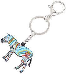 <b>WEVENI Acrylic</b> Africa Zebra Pinto Key Chains For Women Girl Bag ...