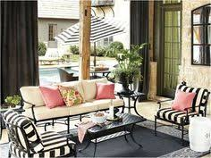 black and white stripes with pink outdoor pillows ballard black and white patio furniture