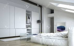 close up fully furnished architectural white bedroom with white furniture and wall cabinets stock photo bedrooms with white furniture