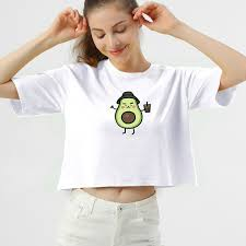 <b>Avocado</b> Cotton T Shirt Women Harajuku Kawaii Cartoon <b>Short</b> ...