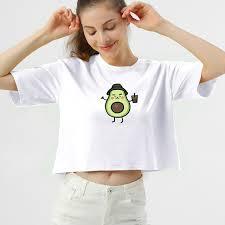 <b>Avocado</b> Cotton T Shirt Women Harajuku Kawaii Cartoon <b>Short</b> ...