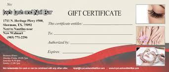 gift certificates ivy s lash nail bar pn 549 ivy lnb gift certificate sample