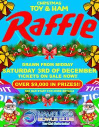 christmas toy ham raffle nambucca bowls club raffle poster