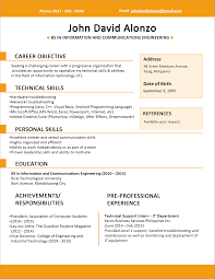 sample resume format for fresh graduates one page format 4 resume format one page