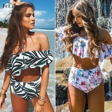<b>2019</b> Sexy bikini High Waist <b>Swimsuit</b> Ruffle <b>Swimwear</b> Women ...