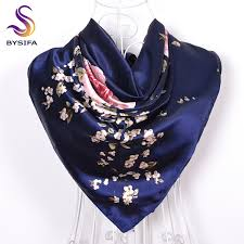 [BYSIFA] Navy Blue Chinese Roses Large Square <b>Scarves New</b> ...